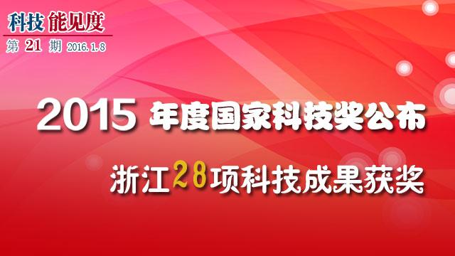 【科技能见度】第21期:浙江28项科技成果获2015年度国家科技奖