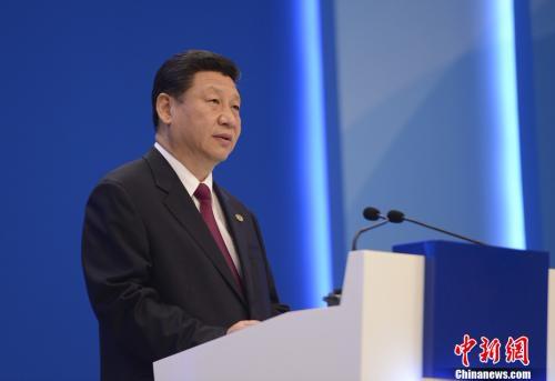 资料图:2013年4月7日,中国国家主席习近平在海南博鳌出席博鳌亚洲论坛2013年年会并做主旨演讲。中新社发 廖攀 摄