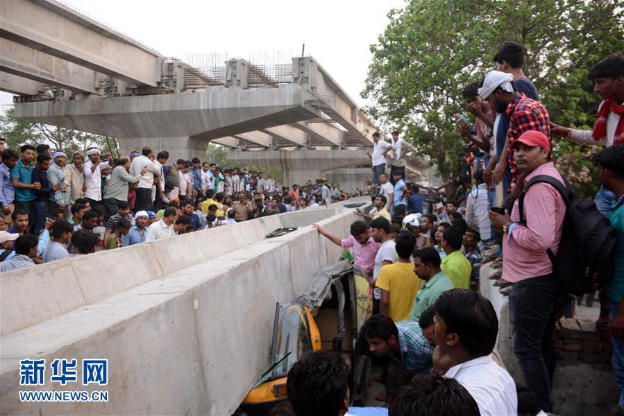(国际)印度北方邦一座在建立交桥垮塌造成16人死亡