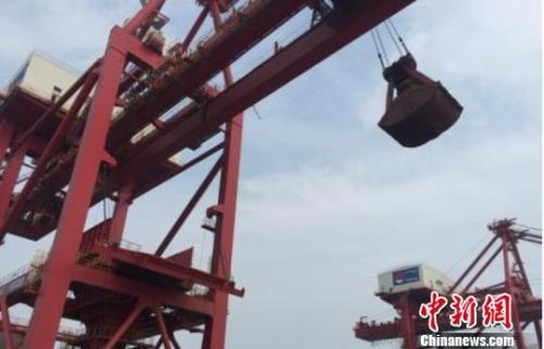 图为散货船进行铁矿砂装卸作业。杭州海关供图
