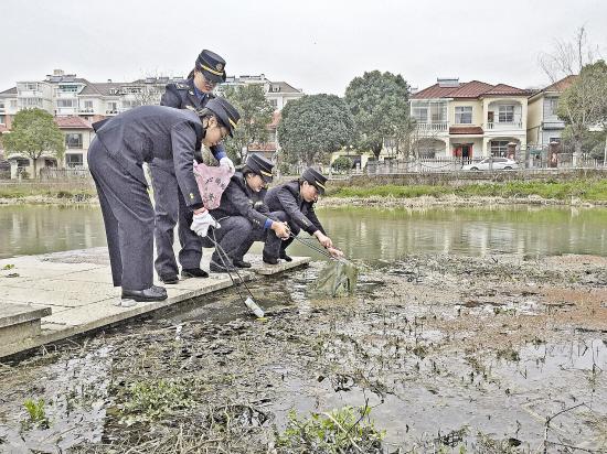 三八妇女节即将到来之际 安吉县综合执法局女子中队队员开展巡河活动