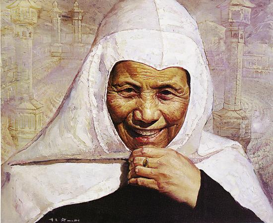 李宪 哈吉大妈 油画