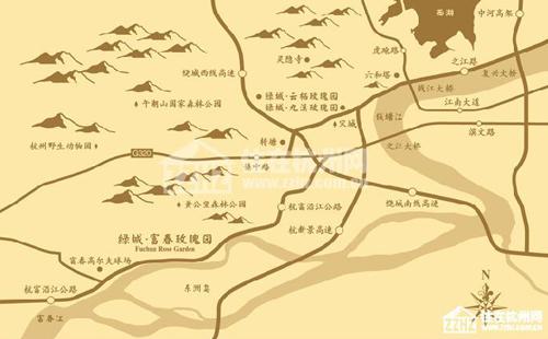 富春玫瑰园交通图  目前由杭州主城区前往富阳东洲,走陆路高清图片