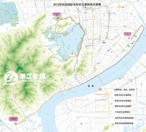 马拉松线路图-国际马拉松赛周日杭州开跑 黄龙体育中心周边交通管制图片