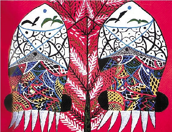 卢绣绒的渔民画《乌贼夫妻》