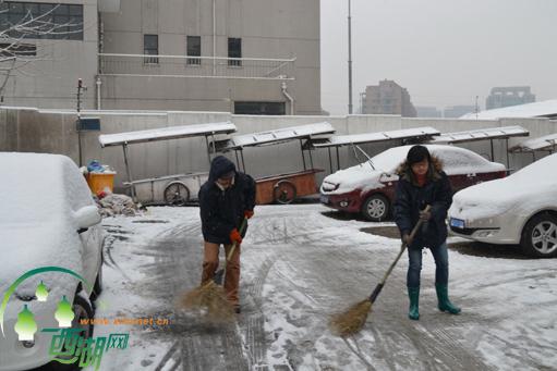首场雪出行难,社区扫雪除隐患图片