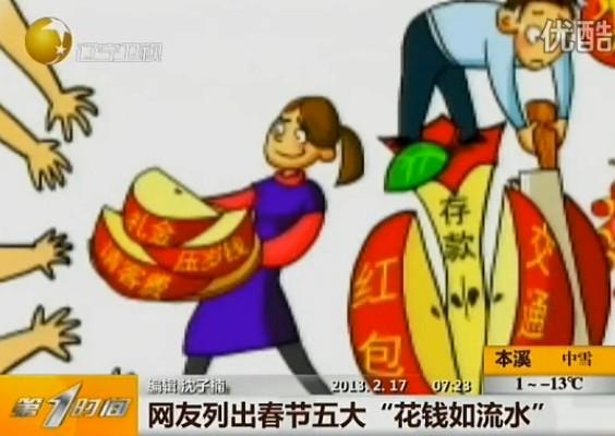 """网友列出春节五大""""花钱如流水"""""""