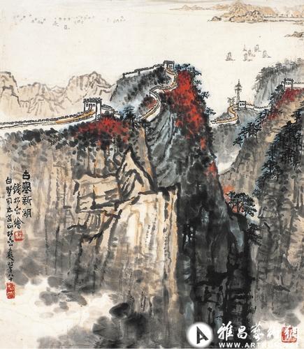 2013西泠春拍钱松岩古塞新湖图设色纸本画心