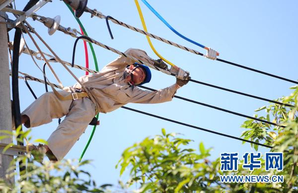 杨涛/8月1日,福州市电业局工作人员杨涛在电线杆上工作。...
