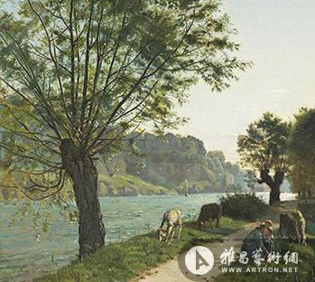 艺术 费迪南德/费迪南德·霍德勒柳树下的女孩与羊1878