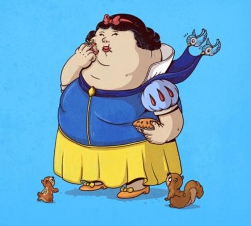 美国画家恶搞经典卡通人物 讽刺肥胖问题图片