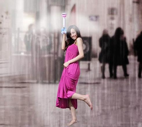 """大学生借鉴创意设计""""空气雨伞""""走红图片"""