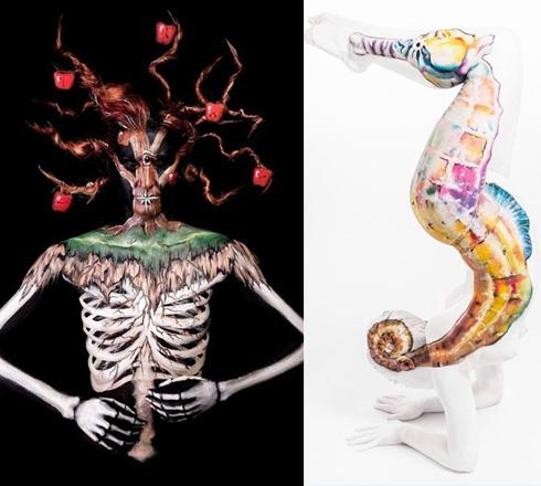 熟妇60后人体艺术_英艺术家人体彩绘足以乱真