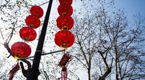 红灯笼高高挂 杭城年味渐浓