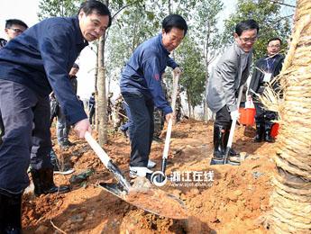 浙江省党政军领导带头义务植树