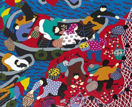 舟山渔民画晋京展出 海岛斑斓色彩装点中国美术馆图片
