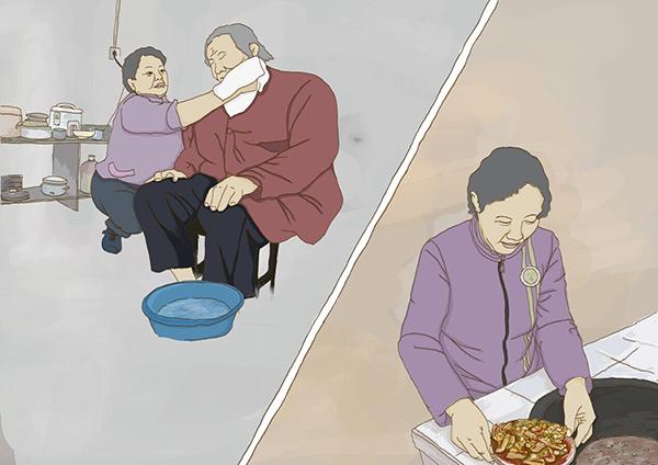 2008年,林莲凤的婆婆陈春姐生病卧床.从此,林莲凤更是忙得脚不点地.图片