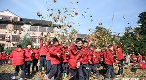 24万张树叶铺满操场 这所小学真会玩