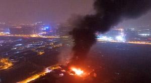 杭州城北载煤气瓶货车爆燃厂房
