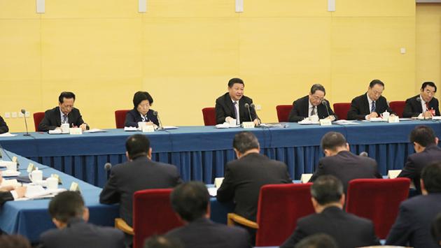 习近平看望出席全国政协十二届四次会议民建、工商联界委员并参加联组讨论