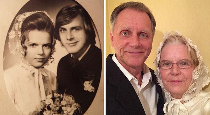 外国夫妇再现年轻老照片 证明真爱永恒