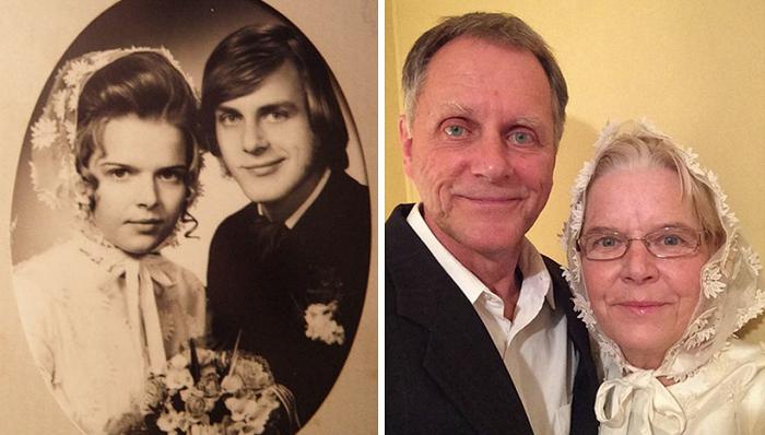 夫妇再现年轻老照片