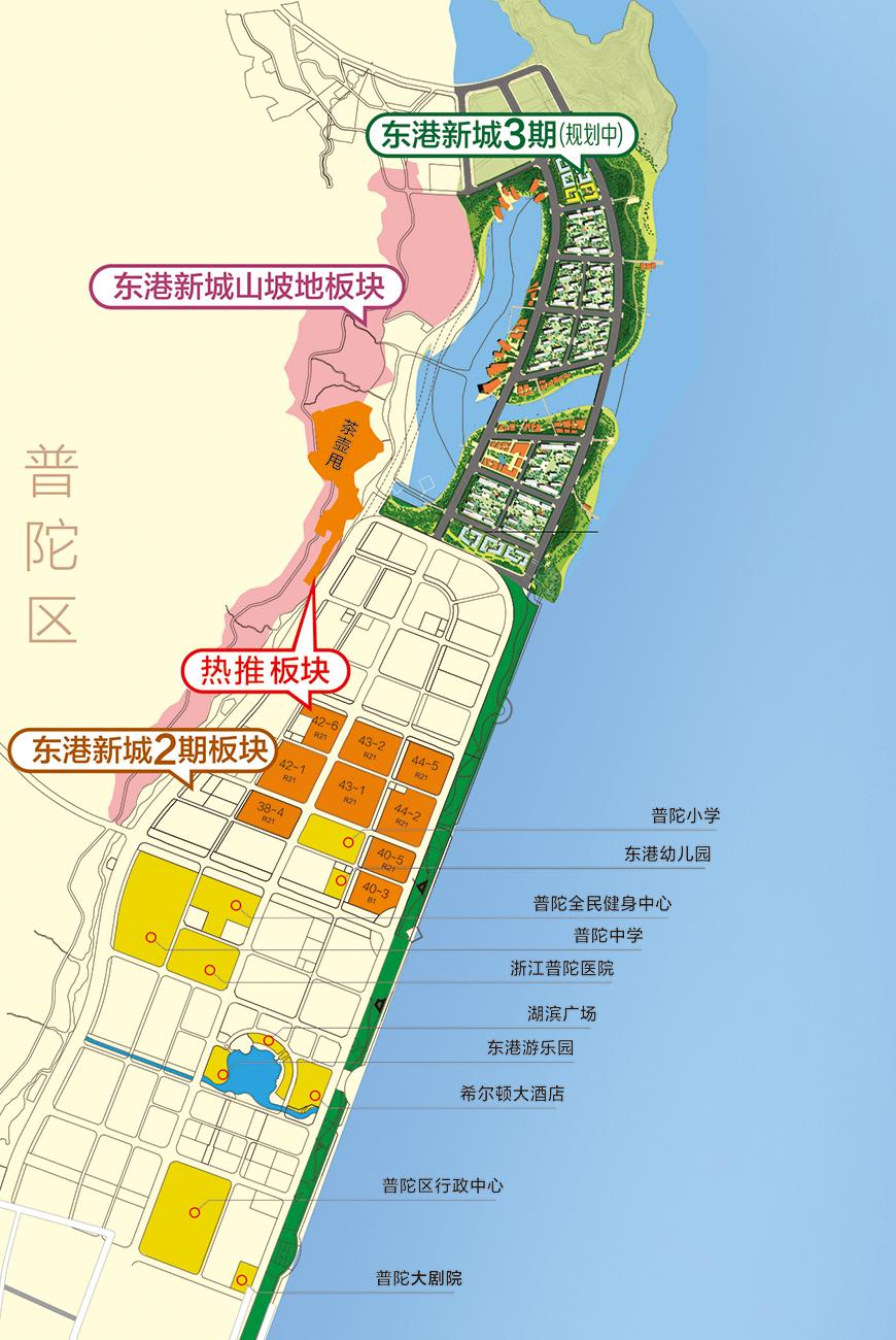 位于舟山本岛东南隅,北纬30度,东经122度附近,东邻国家级风景名胜区