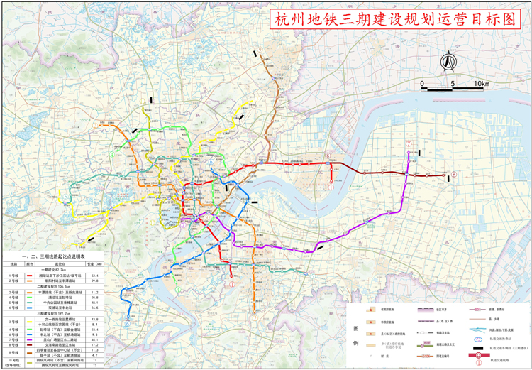 杭州地铁三期规划高清图曝光,3号线上马 6条地铁线过江