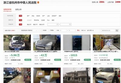 浙江网络司法拍卖:最火的是房子和浙A牌照的车子