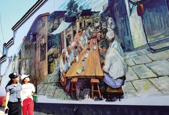 巨幅墻繪 現游埠古鎮
