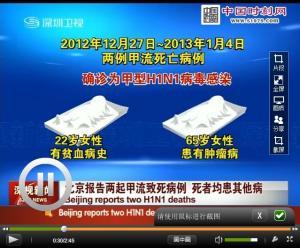 北京报告两起甲流致死病例 死者均患其他病