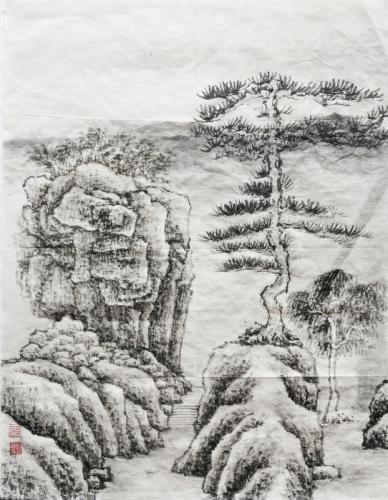 曾贞贞 树石图
